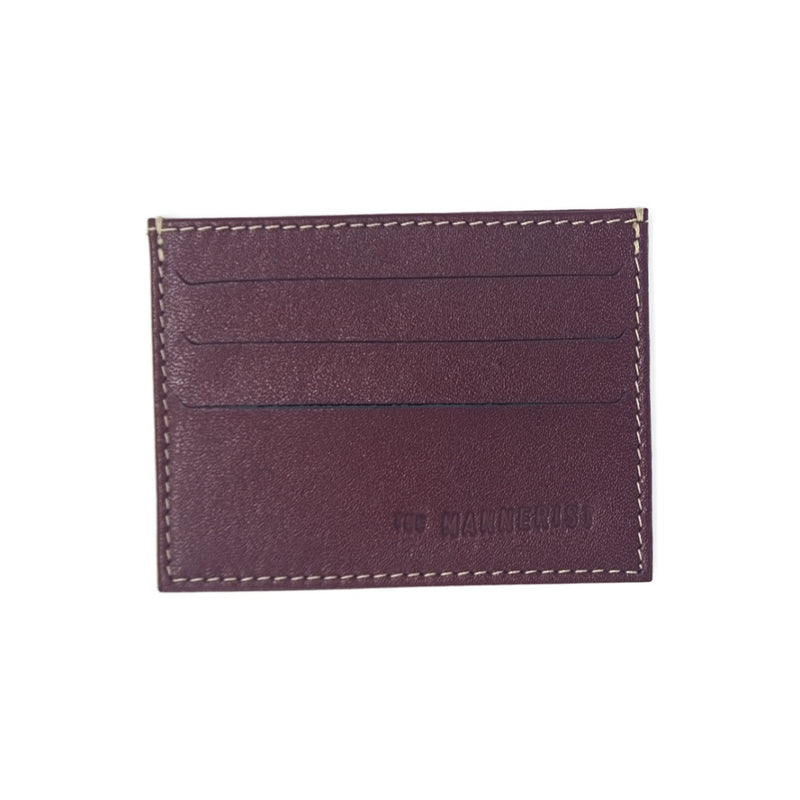 Designer Burgundy Leather Card Holder with Beige Stitching and three card slots in each side