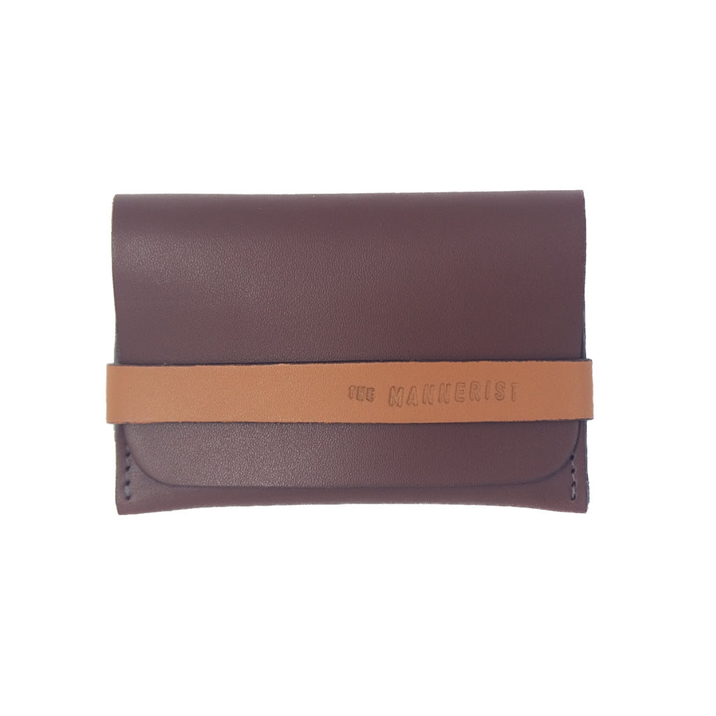 Designer Brown Leather Card Holder with Strap. Space for credit cards and money.