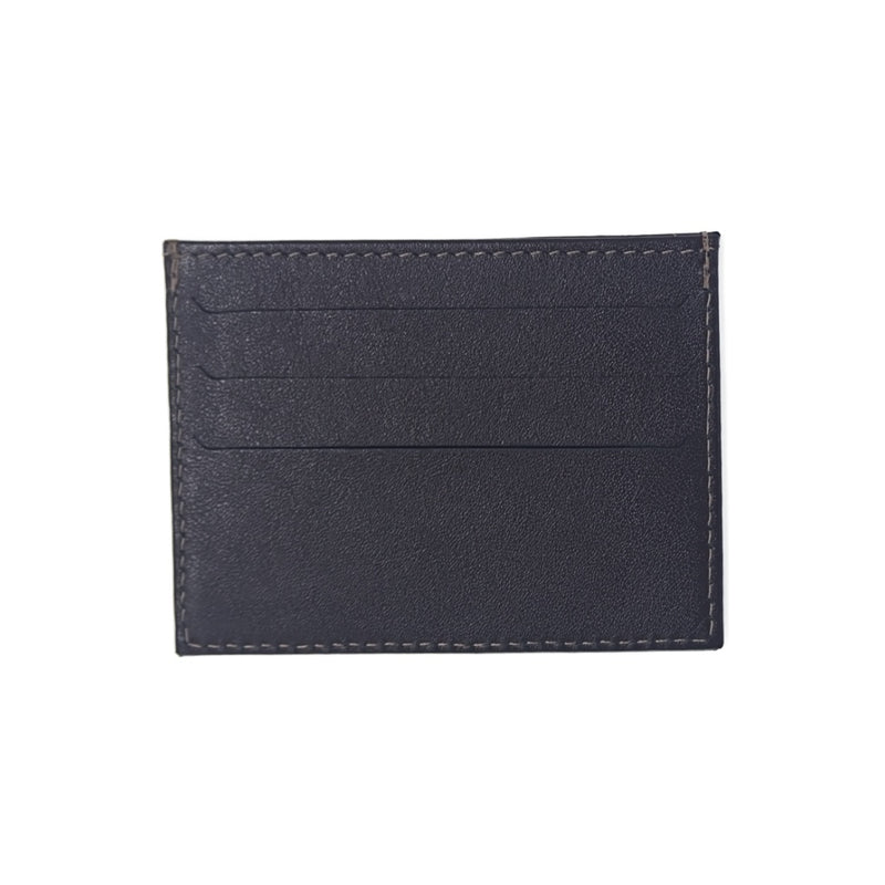 Dark Brown Leather Card Holder with three credit card slots on each side