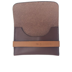 Brown Leather Card Holder with Strap. Space for credit cards and money.