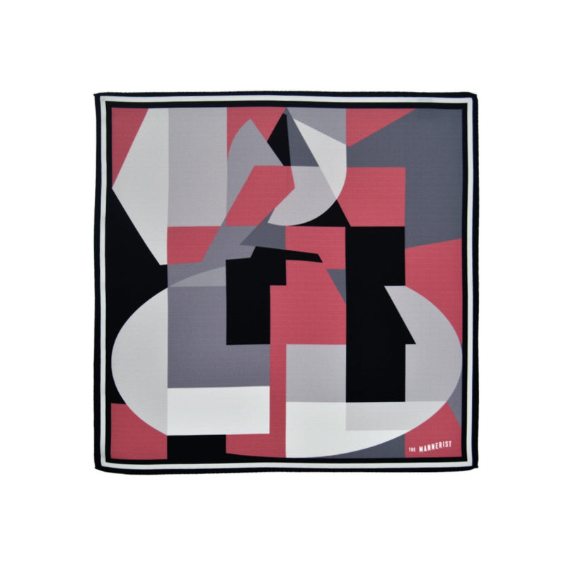 Large glass pane design silk pocket square with grey, rose, black and white colors