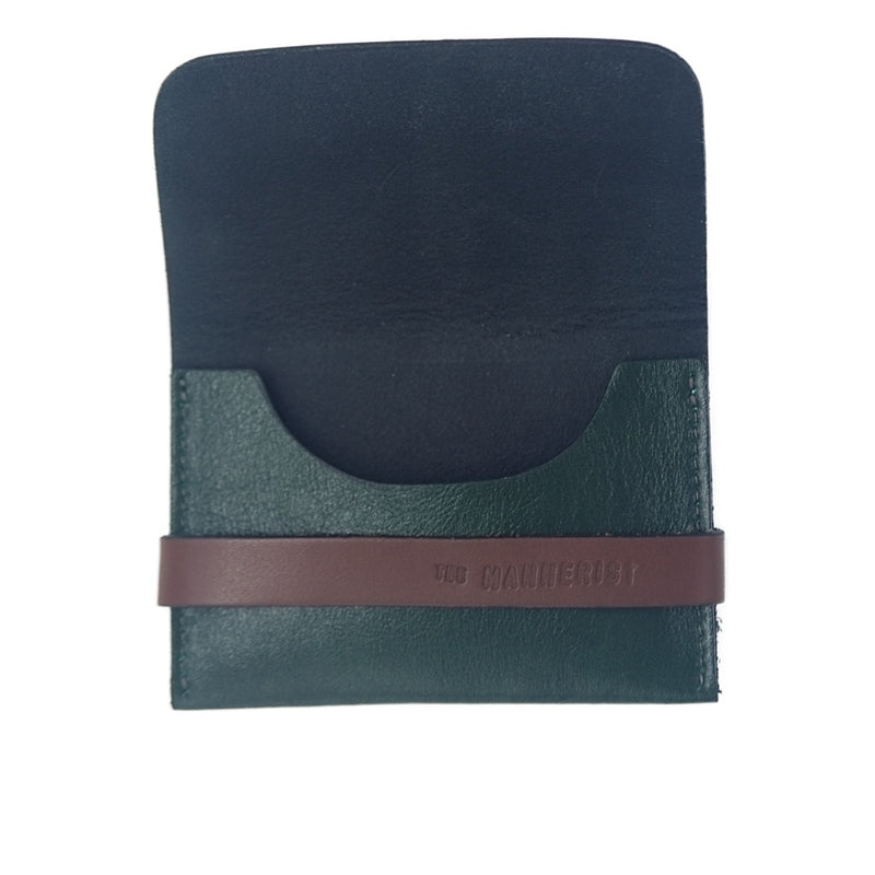 Designer Green Leather Card Holder with Strap. It has space for cards and money. Perfect for travel
