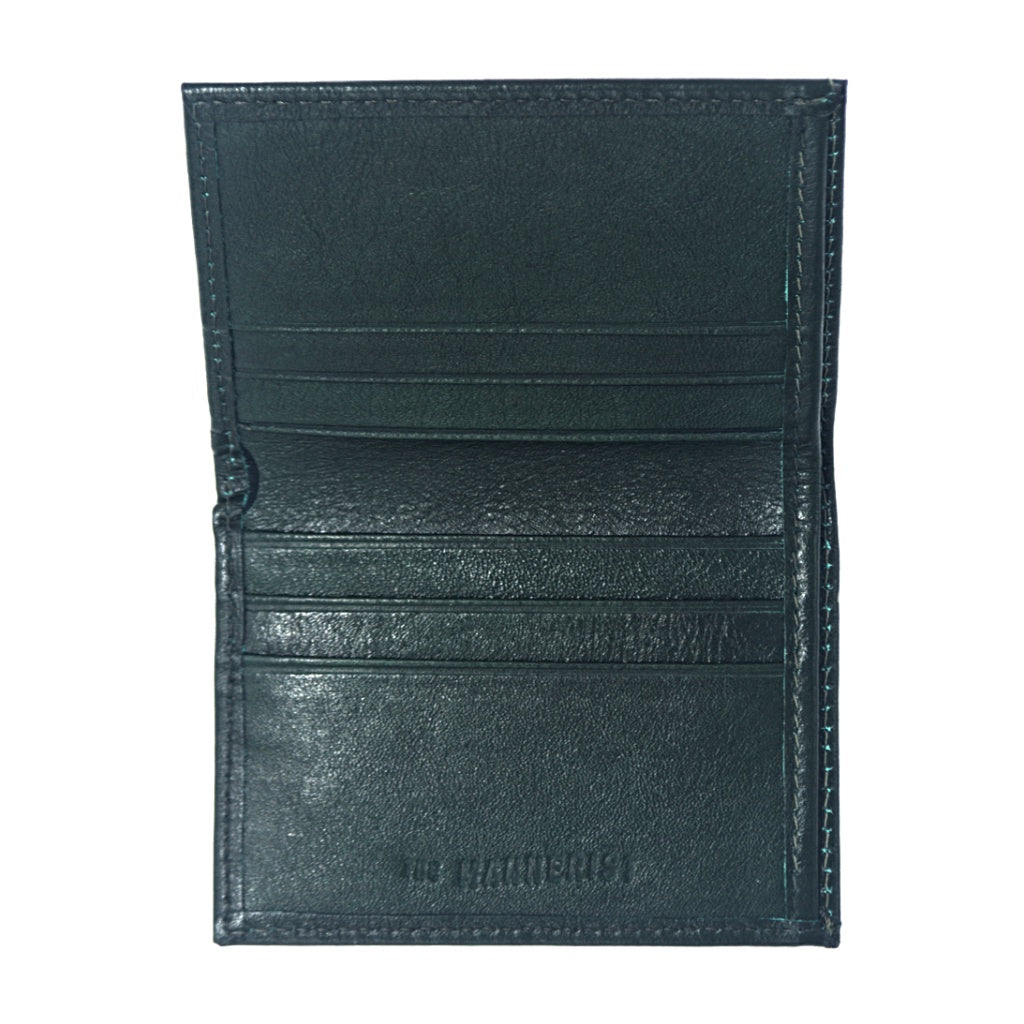 Green Leather Wallet with six card slots and central compartment for bills