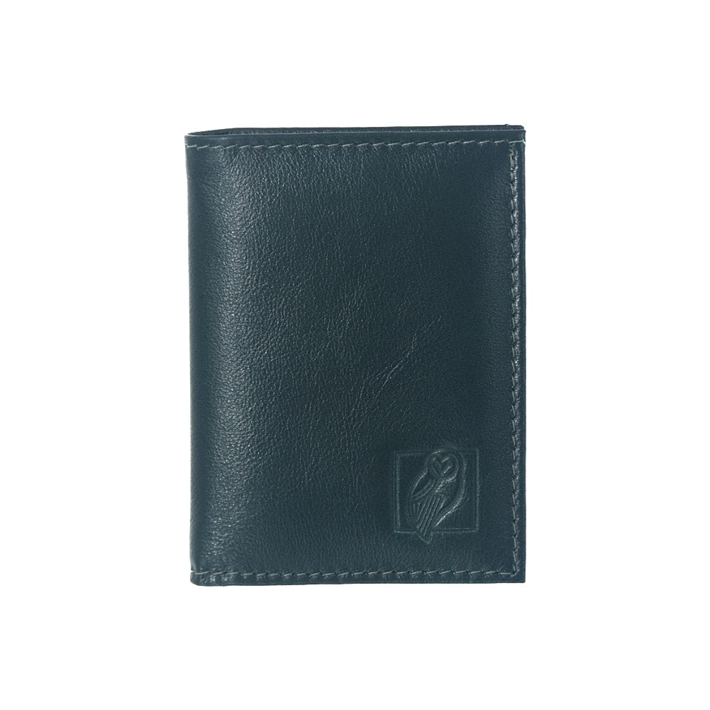 Designer Green Leather Wallet with six card slots and central compartment for bills