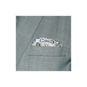 Designer green border silk pocket square with mosaic pattern