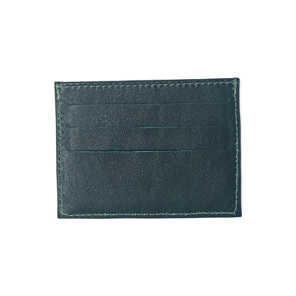 Designer Green Leather Card Holder with three card slots and central compartment for folded bills