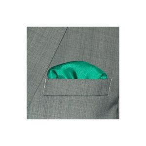 Green with Dark Blue Border Silk Pocket Square