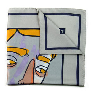 Designer grey silk pocket square with portrait design in yellow, black, white and hints of purple