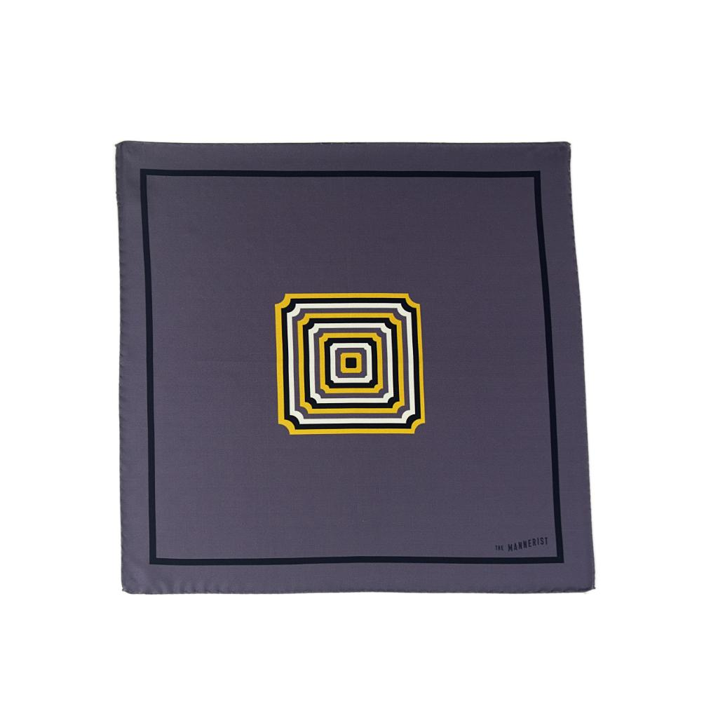 Designer grey silk pocket square with black border and centered patterned in yellow, white and black