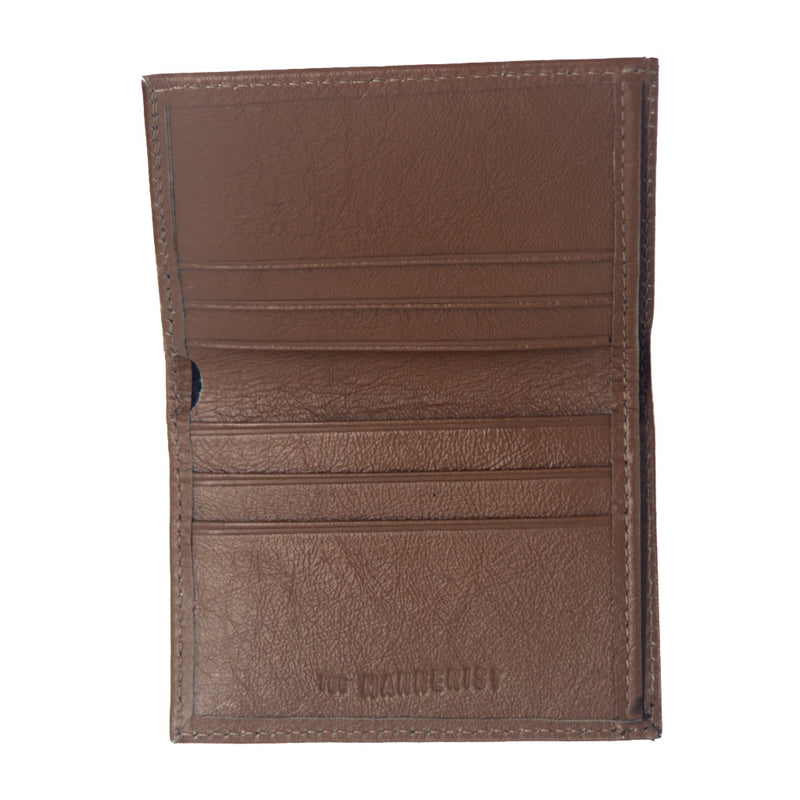 Light Brown Leather Wallet with six card slots and central compartment for bills/notes