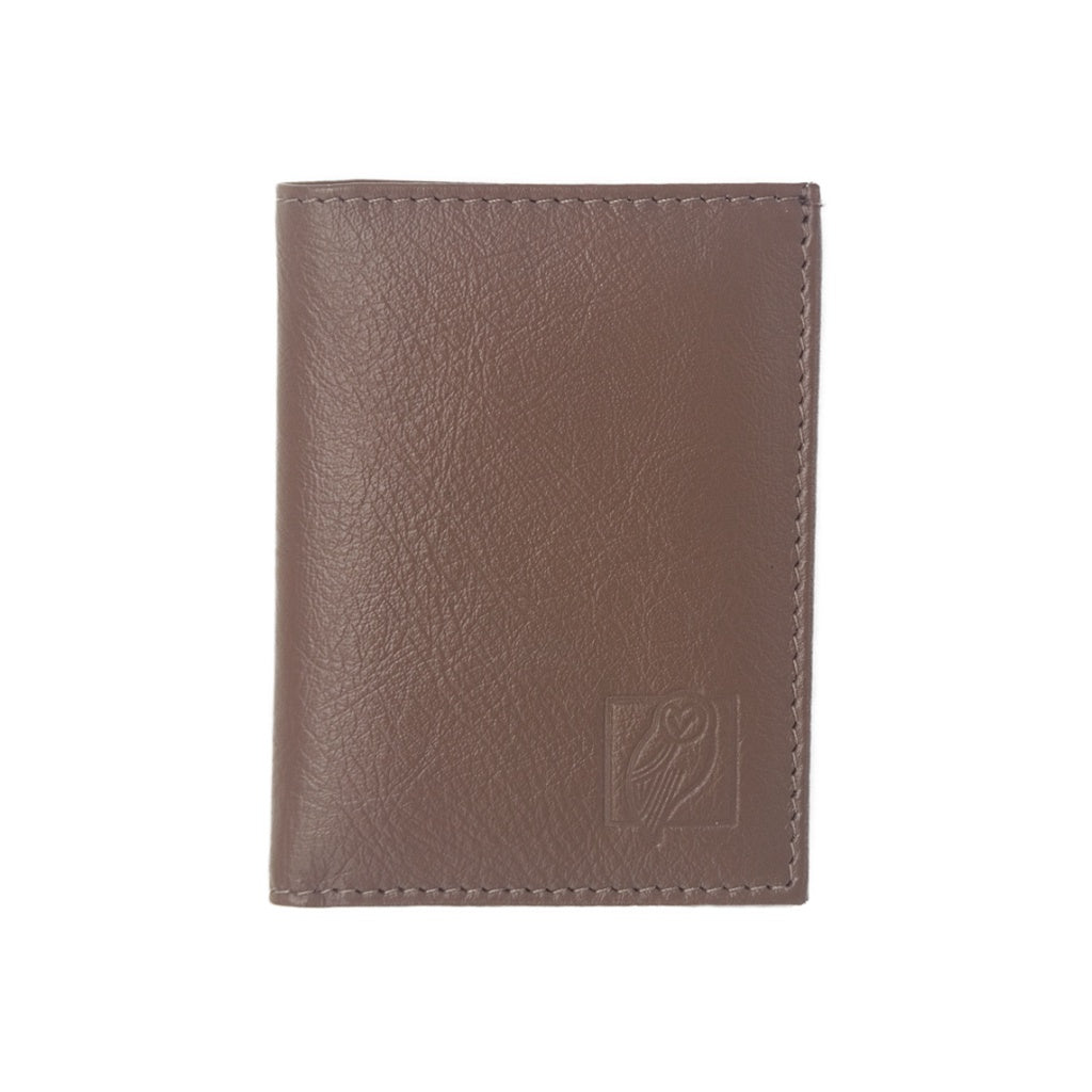 Designer Light Brown Leather Wallet with six card slots and central compartment for bills/notes