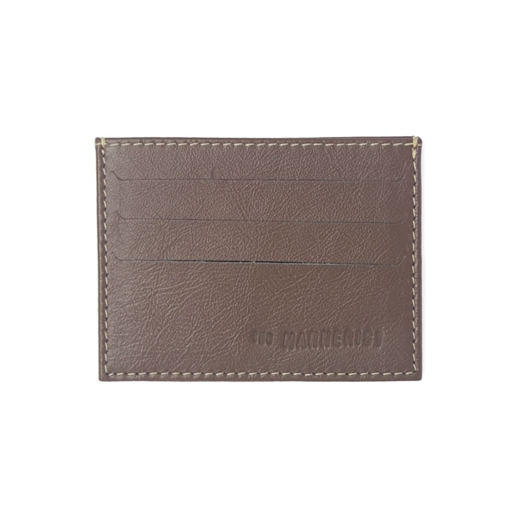 Light Brown Leather Card Holder with three card slots and central compartment for folded bills