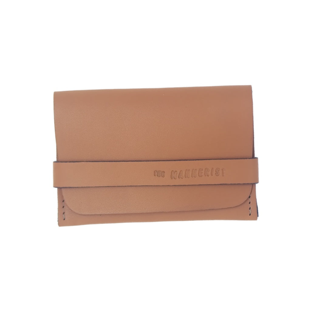 Designer Tan Leather Card Holder with Strap. Perfect for travel
