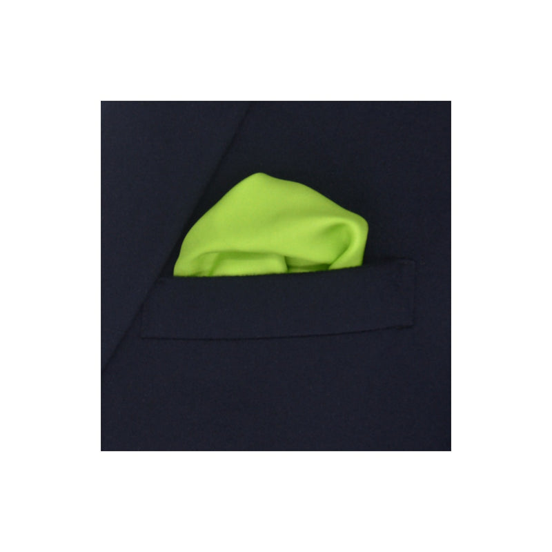 Design Lime Green with blue border silk pocket square