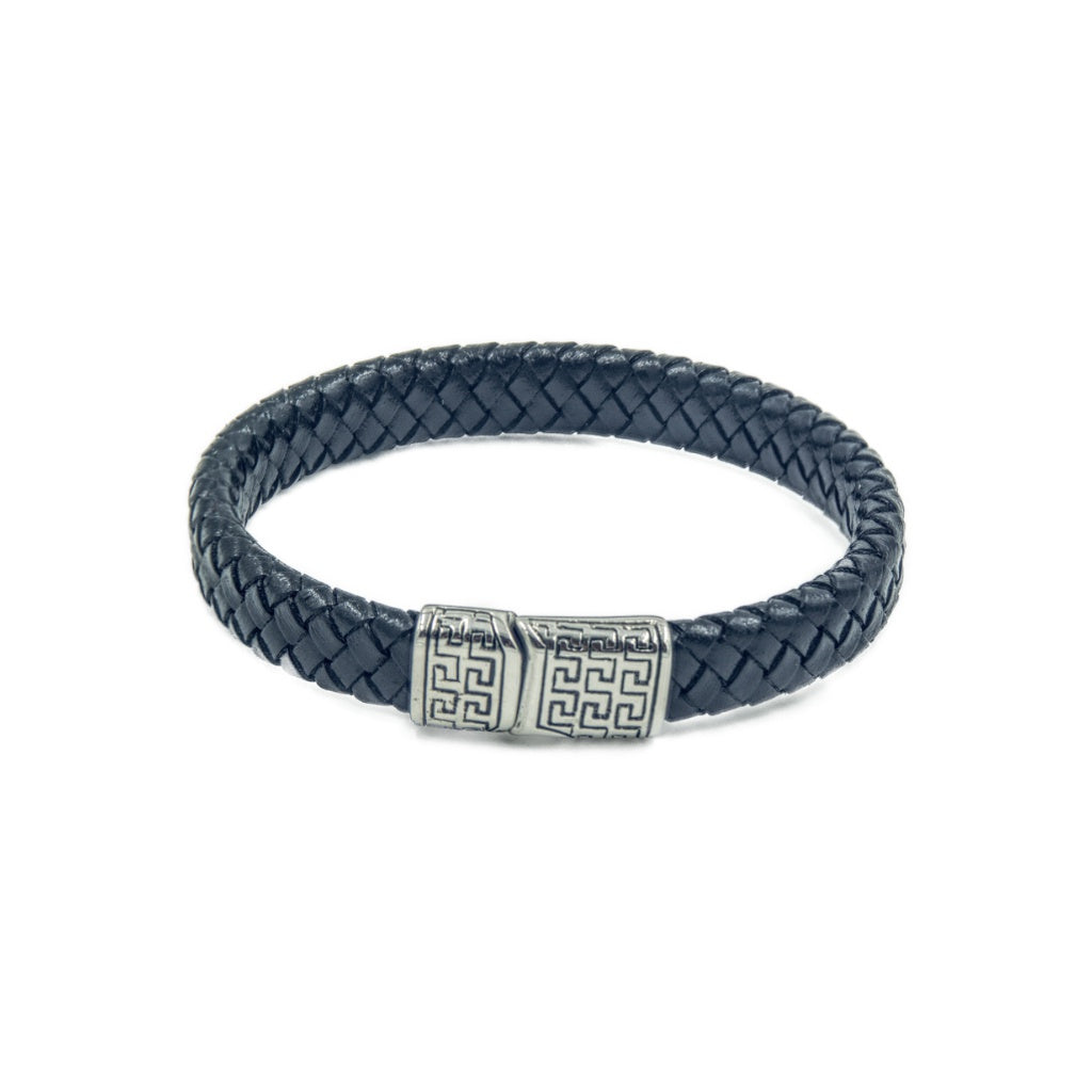Single rope style men's leather bracelet with stainless steel branded clasp and a meander pattern.