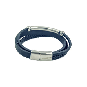 Men's Black leather bracelet with three bands with stainless steel guide and beads