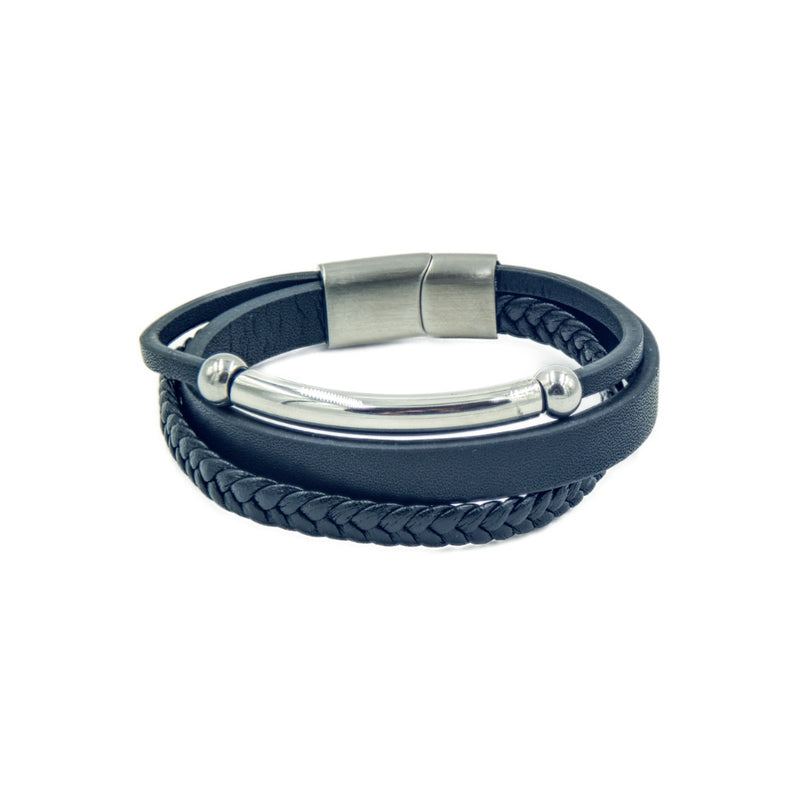 Men's Black leather bracelet with three bands, beads and magnetic clasp.
