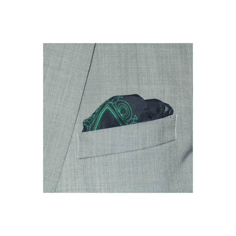 Black silk pocket square with green patterned border and polka dot theme design