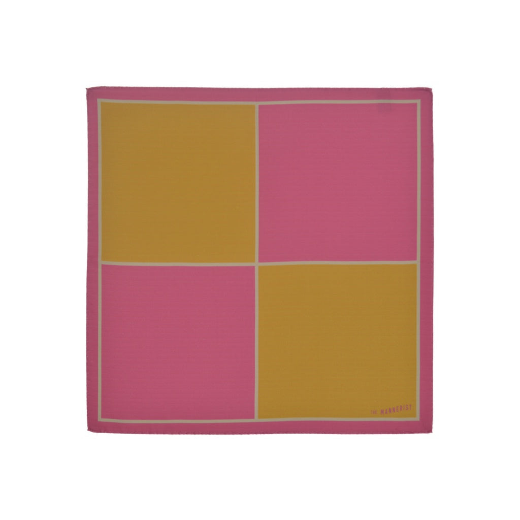Design Geometric Red and Mustard Silk Pocket Square