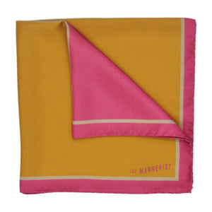 Geometric Red and Mustard Silk Pocket Square