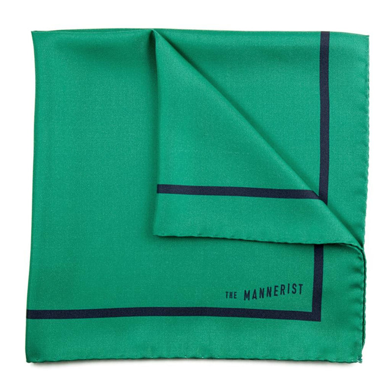Golf Green with Dark Blue Border Print Silk Pocket Square