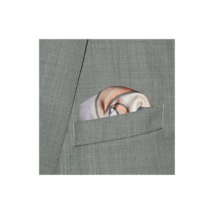 Grey silk pocket square with portrait design in yellow, black, white and hints of purple