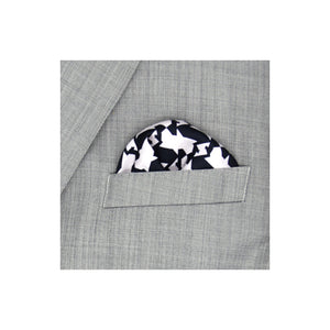 Zig-Zag design grey silk pocket square