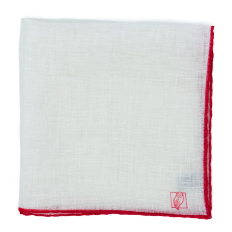 Designer White Linen Pocket Square with Red Border