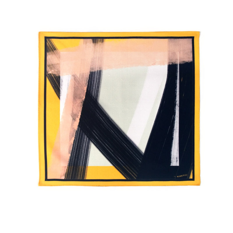 'The Yellow and Black Abstract' Print Silk Pocket Square
