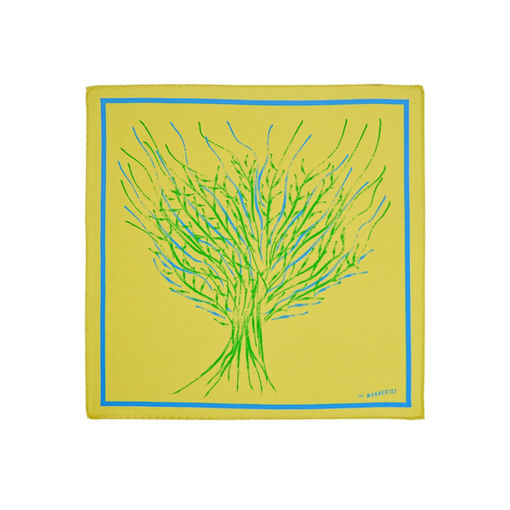 Yellow silk pocket square with tree design in green and blue