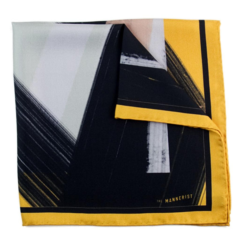 Designer yellow border silk pocket square with abstract pattern in black and grey