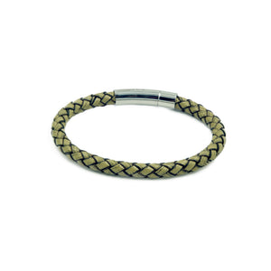 Men's rope-style slim beige bracelet with a quick release stainless mannerist branded steel clasp.