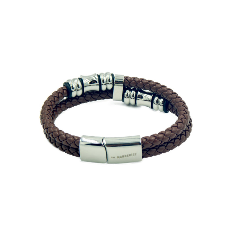 Brown rope style men's leather bracelet with two bands and silver color beads.