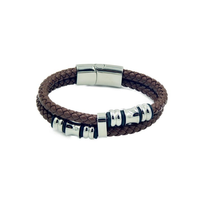 Brown rope style men's leather bracelet with two bands and silver color beads..