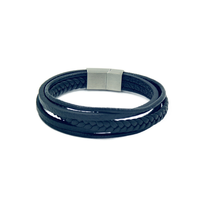 Men's Black Leather Bracelet with five bands and a stainless steel magnetic clasp.