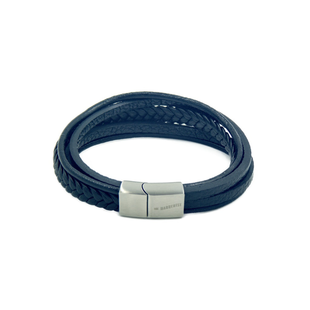 Men's Black Leather Bracelet with five bands and our logo in a stainless steel magnetic clasp.