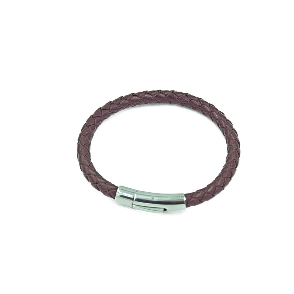 Slim burgundy rope-style men's leather bracelet with a quick release stainless branded steel clasp.