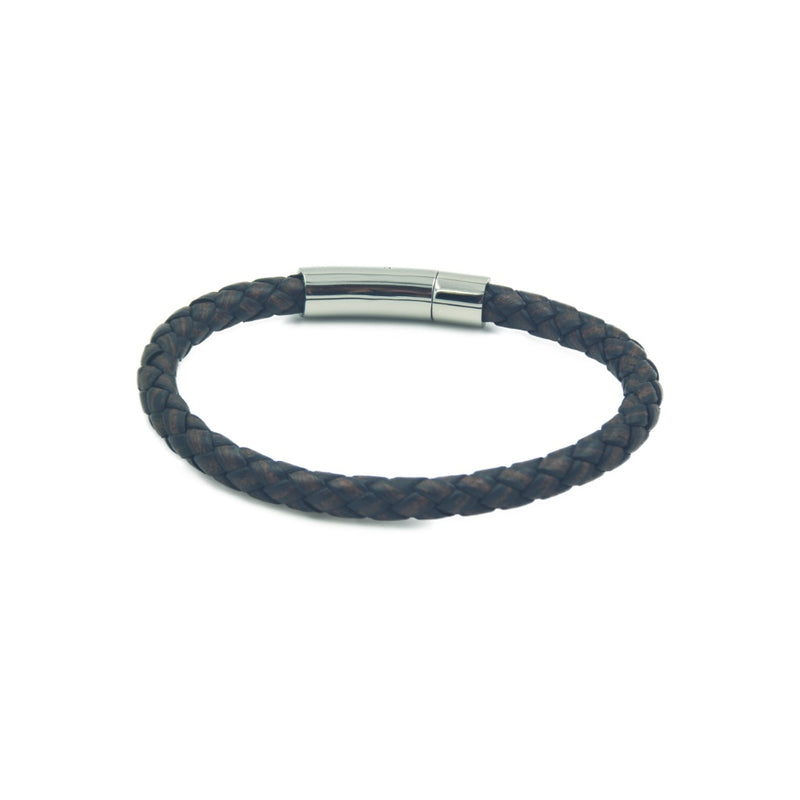 Slim taupe rope-style men's leather bracelet with stainless mannerist branded steel clasp.