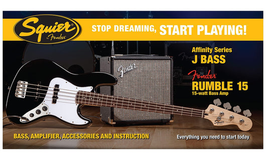 Fender Squier Affinity Jazz Bass Pack With Fender Rumble 15 Amplifier (Available for in store purchase only)