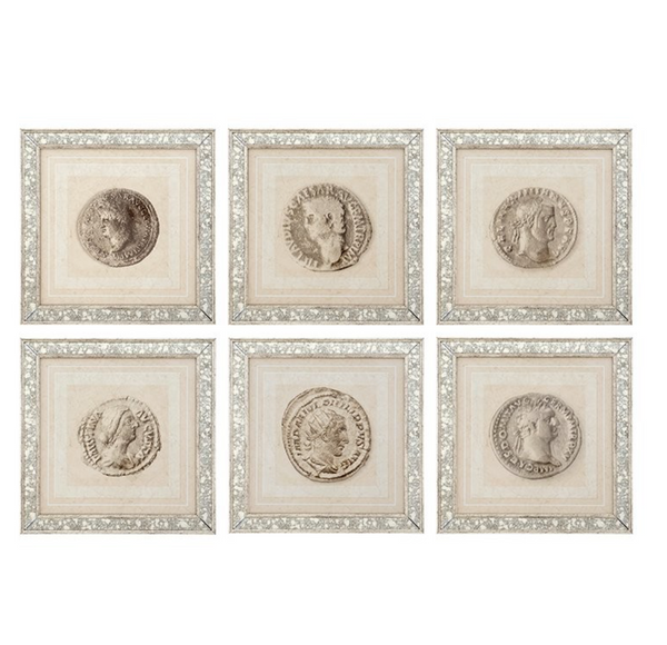 A SET OF 6 ANTIQUE COIN PRINTS