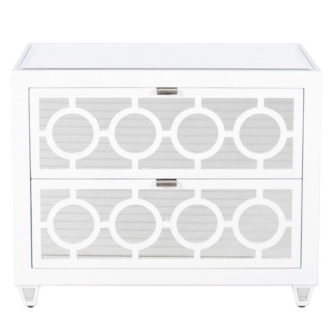WHITE LACQUER MIRROR CHEST