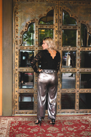 Sugar Daddy: Metallic Crop Pants