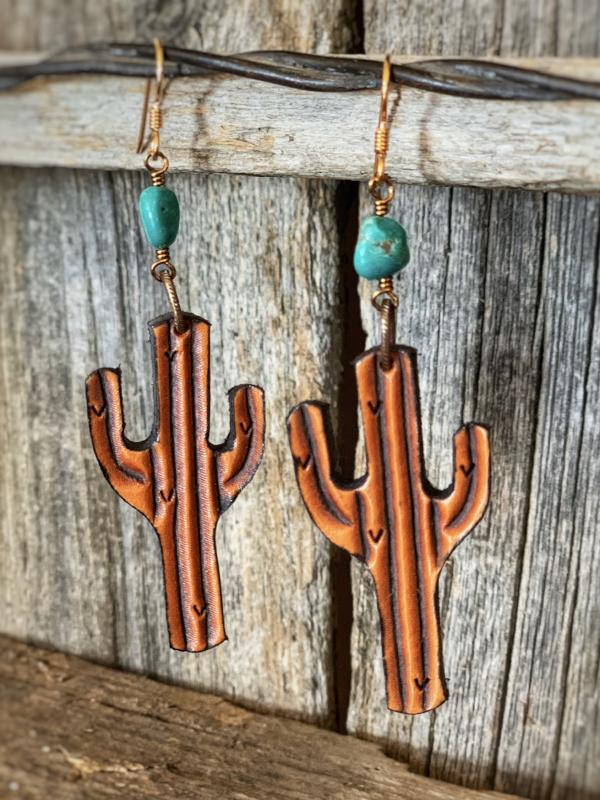 The Saguaro: Tooled Leather Earrings