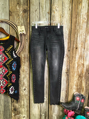 The Rowdy: Studded Ankle Skinny Jeans