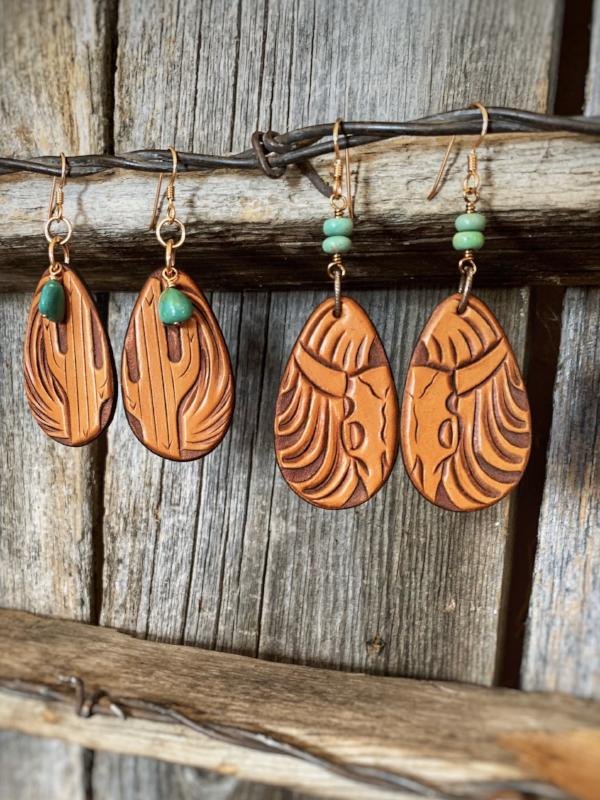 The Marfa Texas: Tooled Leather Earrings