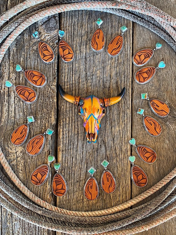 Dodge City: Sterling Silver + Tooled Leather Earrings