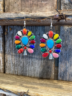 Colored Cluster Earrings