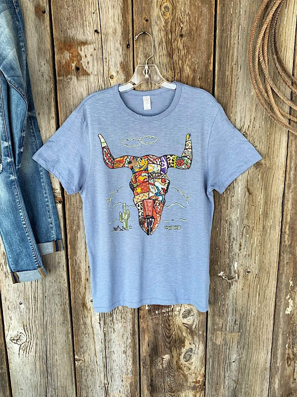 Patchwork Cow Skull: Tee Shirt
