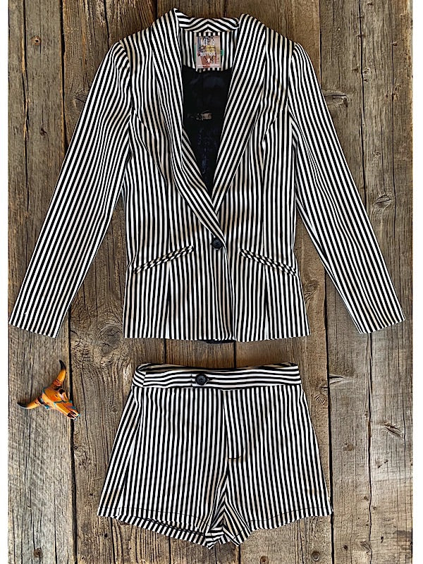 The Vinyl: Striped Blazer + Shorts Set