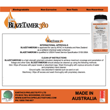 BLAZETAMER380™ Water Enhancer for Firefighting 1 Litre Pack,approved fire fighting chemicals, ash Wednesday, Australian bushfire, Australian fires, backfire, Black Saturday, blaze, Blazetamer, Blazetamer380, burn, burn offs, burning, bush fire, bushfire, Bushfire advice, bushfire plan, bushfires, buy, campfire, CFA, coal fire, control fires, controlled burn, diy fire fighting, domestic fire fighting, domestic fires, Extinguish, farm fire, fire accident, fire alarm, FIRE ALERT, fire danger, fire emergency, fire equipment, fire evacuation plan, Fire exting,Firefighting,Earthco Projects Store
